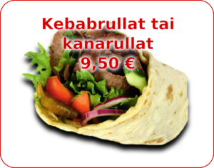 Menu - kuvalinkki Kebab- tai kanarullat valikoimaan.