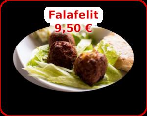 Menu - kuvalinkki Falafelit valikoimaan.